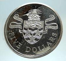 1973 CAYMAN ISLANDS 4.2cm Proof Silver $5 Coin w UK Queen Elizabeth II i76794