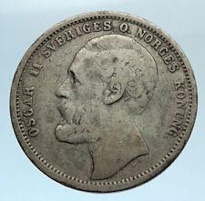 1875 ST SWEDEN King Oscar II Shield Old Antique Silver Krona SWEDISH Coin i74314