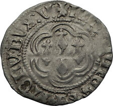 1399AD FRANCE Britanny Duke JEAN V Antique Medieval Silver French Coin i71191