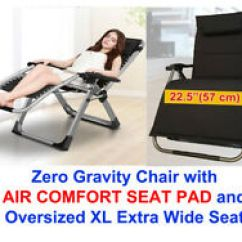 Xl Zero Gravity Chair With Canopy Sliding Pillow Folding Side Table Tommy Bahama Beach Backpack Ebay Four Seasons Oversize Wide Seat Air Comfort Padded Cushion