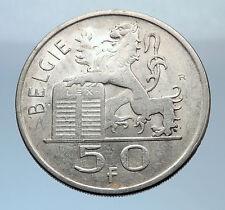 1950 BELGIUM Silver 50 Francs LION BELGIAN CONSTITUTION Vintage Coin i71894