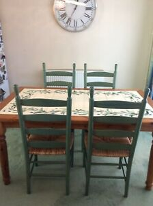 tiled dining table in table chair