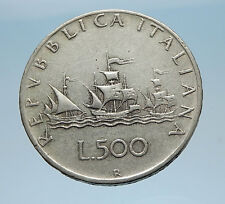 CHRISTOPHER COLUMBUS Ships to DISCOVER America 1961 SILVER Coin of ITALY i65588