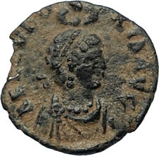 EUDOXIA Arcadius Wife 401AD Authentic Ancient Roman Coin VICTORY CHI-RHO i67283