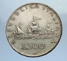 1960 ITALY - CHRISTOPHER COLUMBUS DISCOVER America SILVER Italian Coin i69756