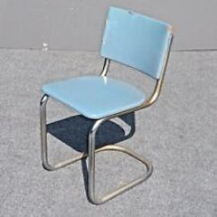 Retro Chrome Chairs Wisconsin Union Blue Antique Ebay New Listingvintage Tubular Chair With Turquoise Vinyl Upholstery