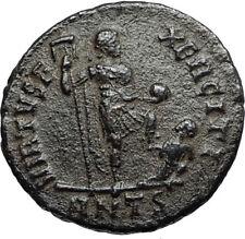 ARCADIUS w Chi-Rho Labarum & Captive Authentic Ancient 383AD Roman Coin i67262