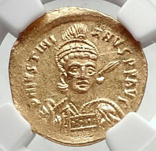 JUSTINIAN I the Great Authentic Ancient Byzantine GOLD Solidus Coin NGC i72390