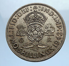 1942 United Kingdom Great Britain GEORGE VI Silver Florin 2Shillings Coin i69749