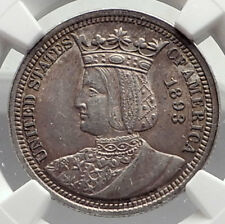 1893 World's Fair Commemorative ISABELLA QUARTER US Silver Coin NGC AU 55 i72721