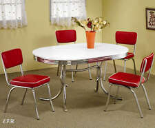 red retro kitchen table and chairs upholstered swivel rocking ebay new 50 s style chrome metal oval dining set w