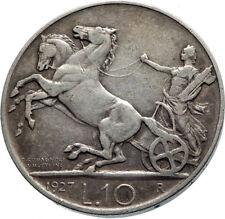 1927 ITALY King Victor Emmanuel III HORSES Silver Italian 10 Lire Coin i75348