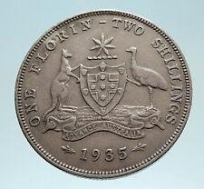 1935 AUSTRALIA UK King George V KANGAROO Genuine Silver Shilling Coin i76203