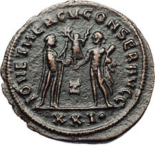 MAXIMIAN Authentic Ancient 285AD Antioch Roman Coin w JUPITER & HERCULES i67427