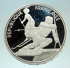 1990 FRANCE Slalom Skiing 1992 Olympics Proof Silver 100 Francs Coin i76891