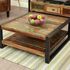 Square Living Room Tables Decorate With Black Sofa Reclaimed Wood Coffee Ebay Agra Furniture Table