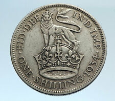 1934 Great Britain UK United Kingdom SILVER SHILLING Coin King George V i74343