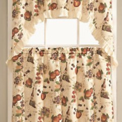 Fruit Kitchen Curtains Outdoor Refrigerator Ebay Orchard Complete 3 Pc Curtain Tier Swag Set