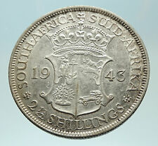 1943 SOUTH AFRICA Large GEORGE VI Shields Silver 2.5 Shillings Coin i76877