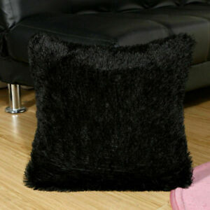 black shaggy cushions for sale ebay