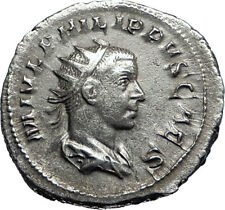PHILIP II Roman Caesar with globe 244AD Rome Silver Ancient Roman Coin i67134