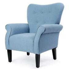 bedroom chair on wheels ikea childrens leather chairs with ebay belleze modern accent roll arm linen living room wood leg blue