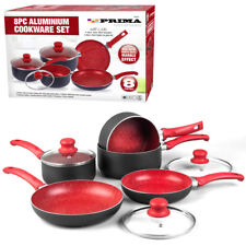kitchen pot sets update ideas saucepan non stick prima cooking pan ebay 8pc red cookware set frying induction new