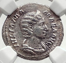 JULIA MAMAMEA Authentic 222AD Ancient Silver Roman Coin w FELICITAS NGC i72781