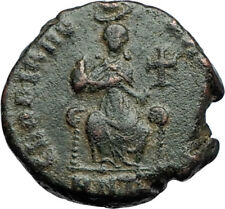 EUDOXIA Arcadius Wife 400AD Authentic Ancient Roman Coin GOD's HAND CROSS i69943