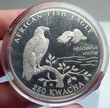 1993 ZAMBIA African HUGE 250 Kwacha Silver MEDALLION COIN w Fish Eagle i69817
