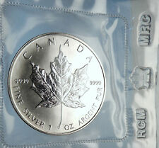 1989 CANADA Authentic Silver 1oz Coin UK Queen Elizabeth II & MAPLE LEAF i70900