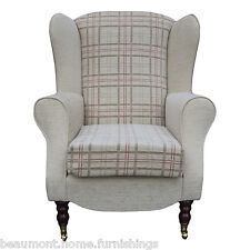 high back chairs living room sectionals in rooms upholstery chair armchairs ebay armchair beige red fabric wing queen anne fireside