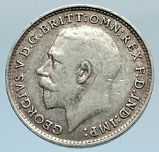 1919 UK Great Britain United Kingdom KING GEORGE V Silver Threepence Coin i74324