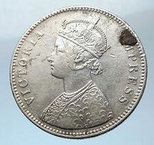 1887 INDIA ALWAR STATE Error Silver Rupee Coin under UK Queen VICTORIA i73845