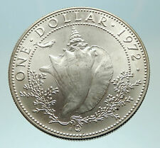 1972 BAHAMAS British Queen Elizabeth II w CONCH SHELL Silver Dollar Coin i76875