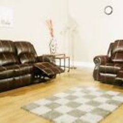 Brown Leather Studded Sofa Diy Arm Covers Ebay Studio 2 And 3 Seat Recliner Set Air With Detailing