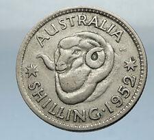 1952 AUSTRALIA King George VI of United Kingdom Silver Shilling Coin RAM i66845