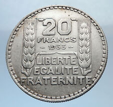 1933 FRANCE Authentic Large Silver 20 Francs Vintage French MOTTO Coin i71835