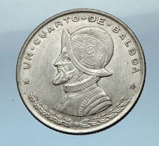 1961 PANAMA OLD Vintage  Silver Spanish CONQUISTADOR Quarter BALBOA Coin i68257