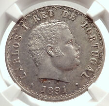 1891 PORTUGAL King Carlos I Silver 500 Reis Antique Portuguese Coin NGC i71343