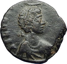 EUDOXIA Arcadius Wife 401AD Authentic Ancient Roman Coin VICTORY CHI-RHO i70808