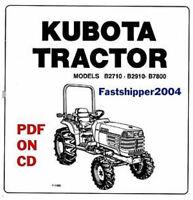 Kubota B2410, B2710, B2910, B7800HSD Tractor Workshop