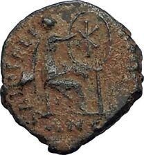 AELIA FLACILLA Theodosius I Wife 383AD Ancient Roman Coin VICTORY CHI-RHO i67701