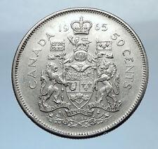 1959 CANADA Queen ELIZABETH II Silver 50 Cent Vintage ARMS SILVER Coin - i71920