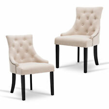 beige dining chairs directors chair covers big w ebay set of 2 fabric accent elegant tufted pattern armrest room