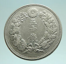 1908 JAPAN Emperor MUTSUHITO Silver 50 Sen Meiji Sunburst JAPANESE Coin i76146
