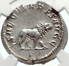 PHILIP I the ARAB 1000 Years of Rome Colosseum LION Silver Roman Coin NGC i68727
