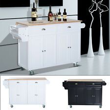 kitchen island large top cabinets ebay 58 rolling cart modern portable trolley cabinet furniture