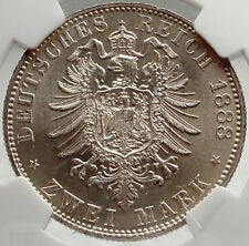 1888 GERMANY Prussia King FRIEDRICH III Silver 2 Mark German Coin NGC MS i75042