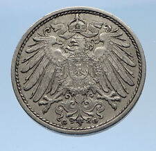 1914 G GERMANY 10 Pfennig Antique German Empire Coin of King WILHELM II i69610